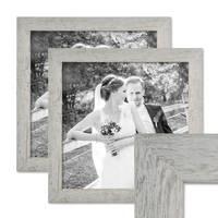 2er Bilderrahmen-Set 30x30 cm Strandhaus Grau Rustikal Massivholz mit Glasscheibe inkl. Zubehör / Fotorahmen  – Bild 1