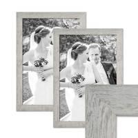 2er Bilderrahmen-Set 30x42 cm / DIN A3 Strandhaus Grau Rustikal Massivholz mit Glasscheibe inkl. Zubehör / Fotorahmen