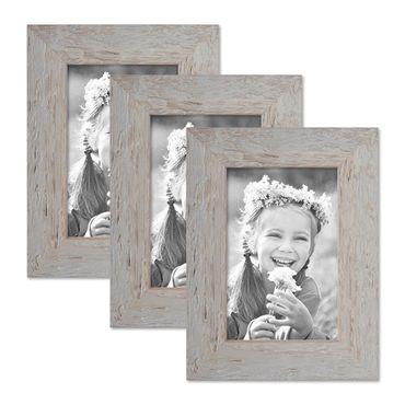 3er Bilderrahmen-Set 10x15 cm Strandhaus Grau Rustikal Massivholz mit Glasscheibe inkl. Zubehör / Fotorahmen