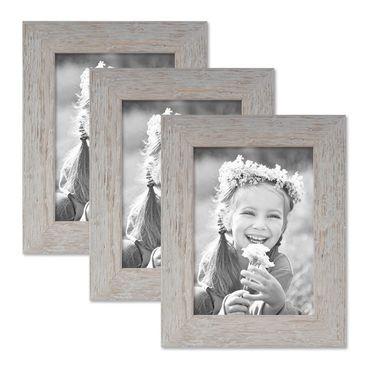 3er Bilderrahmen-Set 13x18 cm Strandhaus Grau Rustikal Massivholz mit Glasscheibe inkl. Zubehör / Fotorahmen