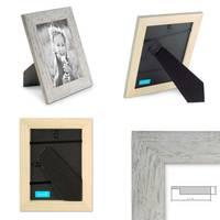 3er Bilderrahmen-Set 15x20 cm Strandhaus Grau Rustikal Massivholz mit Glasscheibe inkl. Zubehör / Fotorahmen  – Bild 2