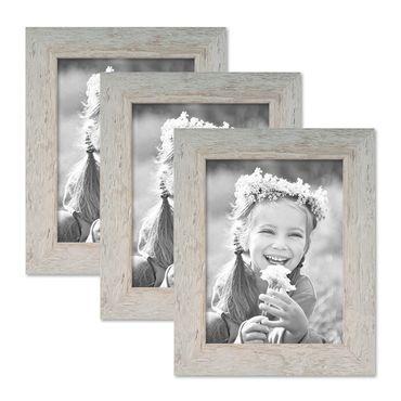 3er Bilderrahmen-Set 18x24 cm Strandhaus Grau Rustikal Massivholz mit Glasscheibe inkl. Zubehör / Fotorahmen