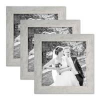 3er Bilderrahmen-Set 20x20 cm Strandhaus Grau Rustikal Massivholz mit Glasscheibe inkl. Zubehör / Fotorahmen  – Bild 1