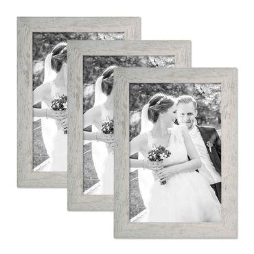 3er Bilderrahmen-Set 21x30 cm / DIN A4 Strandhaus Grau Rustikal Massivholz mit Glasscheibe inkl. Zubehör / Fotorahmen