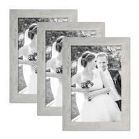 3er Bilderrahmen-Set 21x30 cm / DIN A4 Strandhaus Grau Rustikal Massivholz mit Glasscheibe inkl. Zubehör / Fotorahmen  – Bild 1