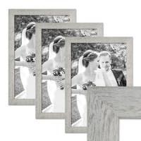 3er Bilderrahmen-Set 30x40 cm Strandhaus Grau Rustikal Massivholz mit Glasscheibe inkl. Zubehör / Fotorahmen  – Bild 1