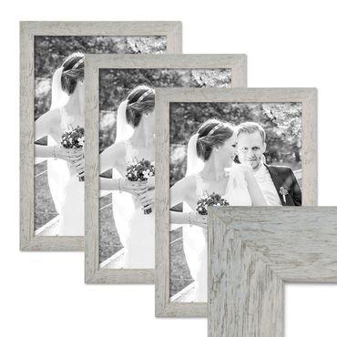 3er Bilderrahmen-Set 30x42 cm / DIN A3 Strandhaus Grau Rustikal Massivholz mit Glasscheibe inkl. Zubehör / Fotorahmen