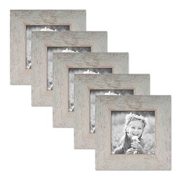 5er Bilderrahmen-Set 10x10 cm Strandhaus Grau Rustikal Massivholz mit Glasscheibe inkl. Zubehör / Fotorahmen