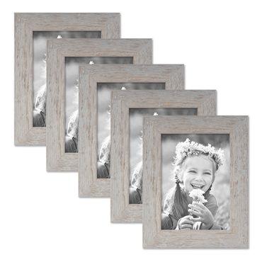 5er Bilderrahmen-Set 13x18 cm Strandhaus Grau Rustikal Massivholz mit Glasscheibe inkl. Zubehör / Fotorahmen