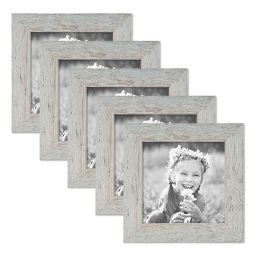 5er Bilderrahmen-Set 15x15 cm Strandhaus Grau Rustikal Massivholz mit Glasscheibe inkl. Zubehör / Fotorahmen