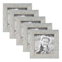 5er Bilderrahmen-Set 15x15 cm Strandhaus Grau Rustikal Massivholz mit Glasscheibe inkl. Zubehör / Fotorahmen  – Bild 1
