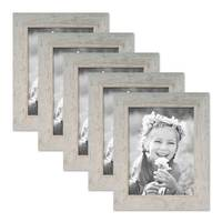 5er Bilderrahmen-Set 18x24 cm Strandhaus Grau Rustikal Massivholz mit Glasscheibe inkl. Zubehör / Fotorahmen  – Bild 1