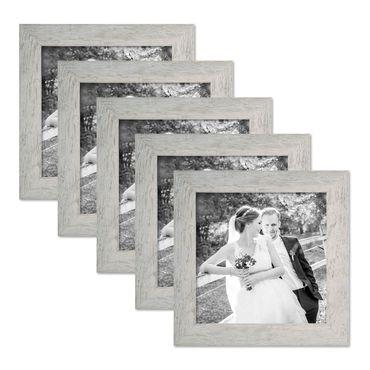 5er Bilderrahmen-Set 20x20 cm Strandhaus Grau Rustikal Massivholz mit Glasscheibe inkl. Zubehör / Fotorahmen