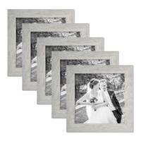5er Bilderrahmen-Set 20x20 cm Strandhaus Grau Rustikal Massivholz