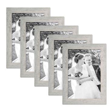 5er Bilderrahmen-Set 21x30 cm / DIN A4 Strandhaus Grau Rustikal Massivholz mit Glasscheibe inkl. Zubehör / Fotorahmen