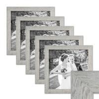 5er Bilderrahmen-Set 30x30 cm Strandhaus Grau Rustikal Massivholz mit Glasscheibe inkl. Zubehör / Fotorahmen