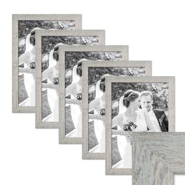 5er Bilderrahmen-Set 30x42 cm / DIN A3 Strandhaus Grau Rustikal Massivholz mit Glasscheibe inkl. Zubehör / Fotorahmen