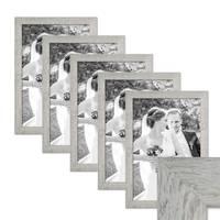 5er Bilderrahmen-Set 30x45 cm Strandhaus Grau Rustikal Massivholz mit Glasscheibe inkl. Zubehör / Fotorahmen  – Bild 1