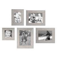 5er Bilderrahmen-Set 10x10, 10x15, 13x18 und 15x20 cm Strandhaus Grau Rustikal Massivholz mit Glasscheibe inkl. Zubehör / Fotorahmen