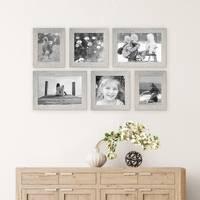 6er Bilderrahmen-Set 15x20, 20x20 und 20x30 cm Strandhaus Grau Rustikal Massivholz mit Glasscheibe inkl. Zubehör / Fotorahmen  – Bild 2