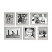 6er Bilderrahmen-Set 15x20, 20x20 und 20x30 cm Strandhaus Grau Rustikal Massivholz mit Glasscheibe inkl. Zubehör / Fotorahmen