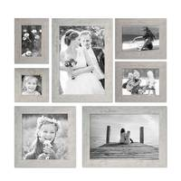 7er Bilderrahmen-Set 10x10, 10x15, 13x18, 20x20 und 20x30 cm Strandhaus Grau Rustikal Massivholz mit Glasscheibe inkl. Zubehör / Fotorahmen