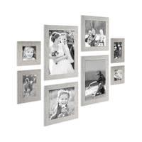 8er-Bilderrahmen-Set Strandhaus Grau Rustikal Massivholz, je 2 mal 10x10, 10x15, 20x20 und 20x30 cm, inkl. Zubehör, zur Gestaltung einer Bilderwand oder Fotowand / Fotorahmen