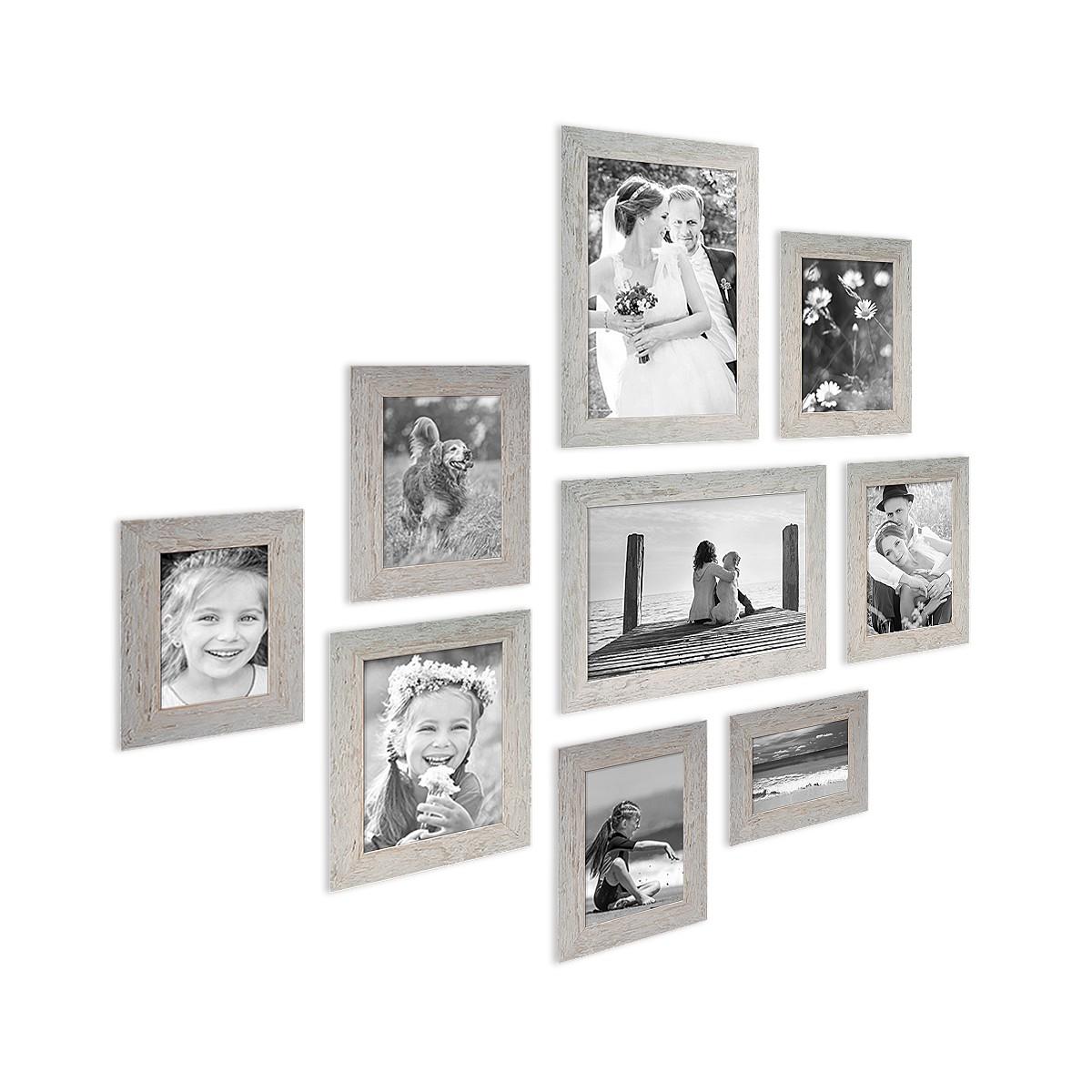 9er Bilderrahmen-Set Strandhaus Grau Rustikal Massivholz, 10x15 bis ...