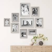 9er Bilderrahmen-Set Strandhaus Grau Rustikal Massivholz, 10x15 bis 20x30 cm, inkl. Zubehör, zur Gestaltung einer Bilderwand oder Fotowand / Fotorahmen