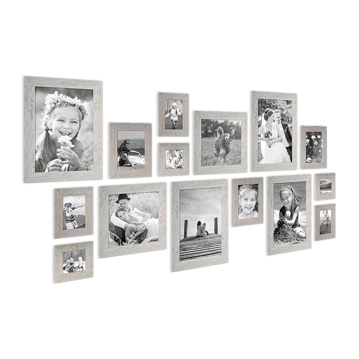 15er Bilderrahmen-Set Strandhaus Grau Rustikal Massivholz 10x15 bis ...