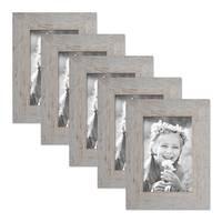 5er Bilderrahmen-Set 10x15 cm Strandhaus Grau Rustikal Massivholz mit Glasscheibe inkl. Zubehör / Fotorahmen