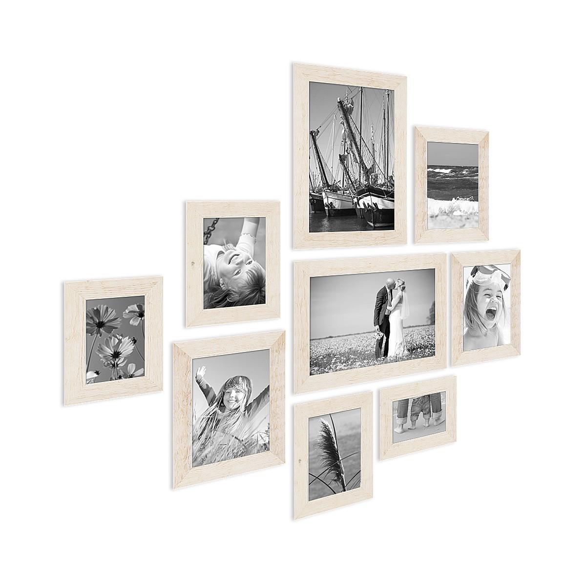 9er bilderrahmen set strandhaus rustikal weiss massivholz 10x15 bis 20x30 cm inkl zubeh r zur. Black Bedroom Furniture Sets. Home Design Ideas