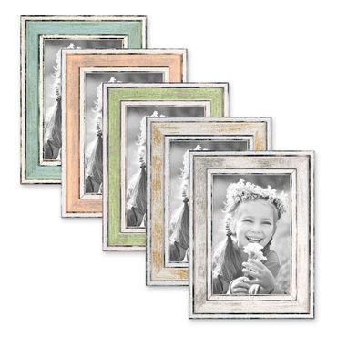 5er Bilderrahmen-Set Pastell / Alt-Weiß Hellblau Rosa Hellgrün Gold Silber 10x15 cm Massivholz mit Vintage Look / Fotorahmen / Wechselrahmen