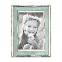 5er Bilderrahmen-Set Pastell / Alt-Weiß Hellblau Rosa Hellgrün Gold Silber 10x15 cm Massivholz mit Vintage Look / Fotorahmen / Wechselrahmen – Bild 5
