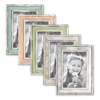 5er Bilderrahmen-Set 10x15 cm Pastell Vintage Look Hellblau Rosa Hellgrün Gold Silber