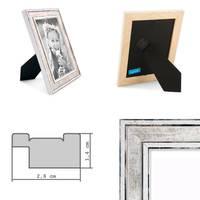 5er Bilderrahmen-Set Pastell / Alt-Weiß Hellblau Rosa Hellgrün Gold Silber 10x15 cm Massivholz mit Vintage Look / Fotorahmen / Wechselrahmen – Bild 3
