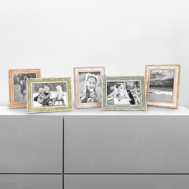 5er Bilderrahmen-Set Pastell / Alt-Weiß Hellblau Rosa Hellgrün Gold Silber 15x20 cm Massivholz mit Vintage Look / Fotorahmen / Wechselrahmen