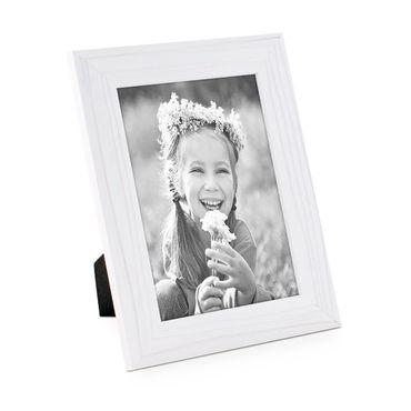 Bilderrahmen 15x20 cm Weiss Modern Massivholz-Rahmen mit Maserung mit Glasscheibe und Zubehör / zum Stellen oder Hängen / Fotorahmen