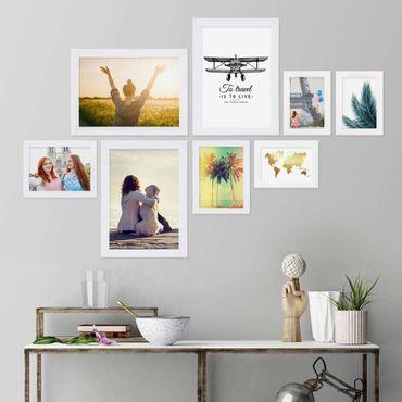 8er Bilderrahmen-Collage Basic Collection, Modern, Weiss, aus MDF, inklusive Zubehör / Foto-Collage / Bildergalerie / Bilderrahmen-Set