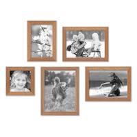 5er Set Landhaus-Bilderrahmen Eiche-Optik 10x10, 10x15, 13x18 und 15x20 cm Massivholz inkl. Zubehör