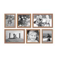 6er Set Landhaus-Bilderrahmen Eiche-Optik 15x20 20x20 und 20x30 cm Massivholz mit Glasscheibe inkl. Zubehör