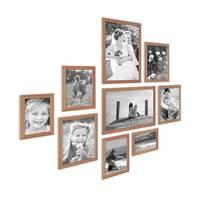 9er Set Landhaus-Bilderrahmen Eiche-Optik Massivholz-Rahmen mit Glasscheibe und Zubehör  / 10x15, 13x18, 15x20 und 20x30 cm / Fotorahmen – Bild 1