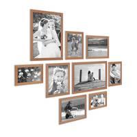 9er Set Landhaus-Bilderrahmen Eiche-Optik Massivholz-Rahmen mit Glasscheibe und Zubehör  / 10x15, 13x18, 15x20 und 20x30 cm / Fotorahmen – Bild 4