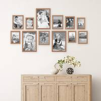 12er Set Landhaus-Bilderrahmen Eiche-Optik 10x15 13x18 15x20 und 20x30 cm Massivholz inkl. Zubehör  – Bild 1