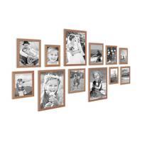 12er Set Landhaus-Bilderrahmen Eiche-Optik 10x15 13x18 15x20 und 20x30 cm Massivholz inkl. Zubehör  – Bild 2