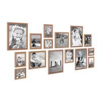 15er Set Landhaus-Bilderrahmen Eiche-Optik Massivholz Größen 10x10 10x15 13x18 20x20 20x30 cm inkl. Zubehör – Bild 3