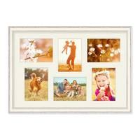 Fotocollage-Bilderrahmen 40x60 cm im Shabby-Chic Landhaus-Stil, Weiss, Collagerahmen, Bildergalerie-Rahmen für 6 Bilder, Wechselrahmen mit Passepartout – Bild 1
