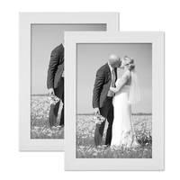 2er Bilderrahmen-Set 20x30 cm Weiss Modern Massivholz mit Maserung