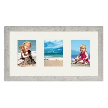 Fotocollage-Bilderrahmen 30x60 cm im Strandhaus-Stil, Grau, Collagerahmen, Bildergalerie-Rahmen für 3 Bilder, Wechselrahmen mit Passepartout