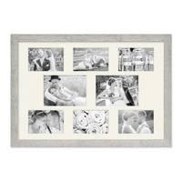 Fotocollage-Bilderrahmen 40x60 cm im Strandhaus-Stil, Grau, Collagerahmen, Bildergalerie-Rahmen für 8 Bilder, Wechselrahmen mit Passepartout – Bild 2